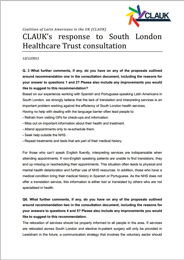 CLAUKs response to South London HealthCare Trust