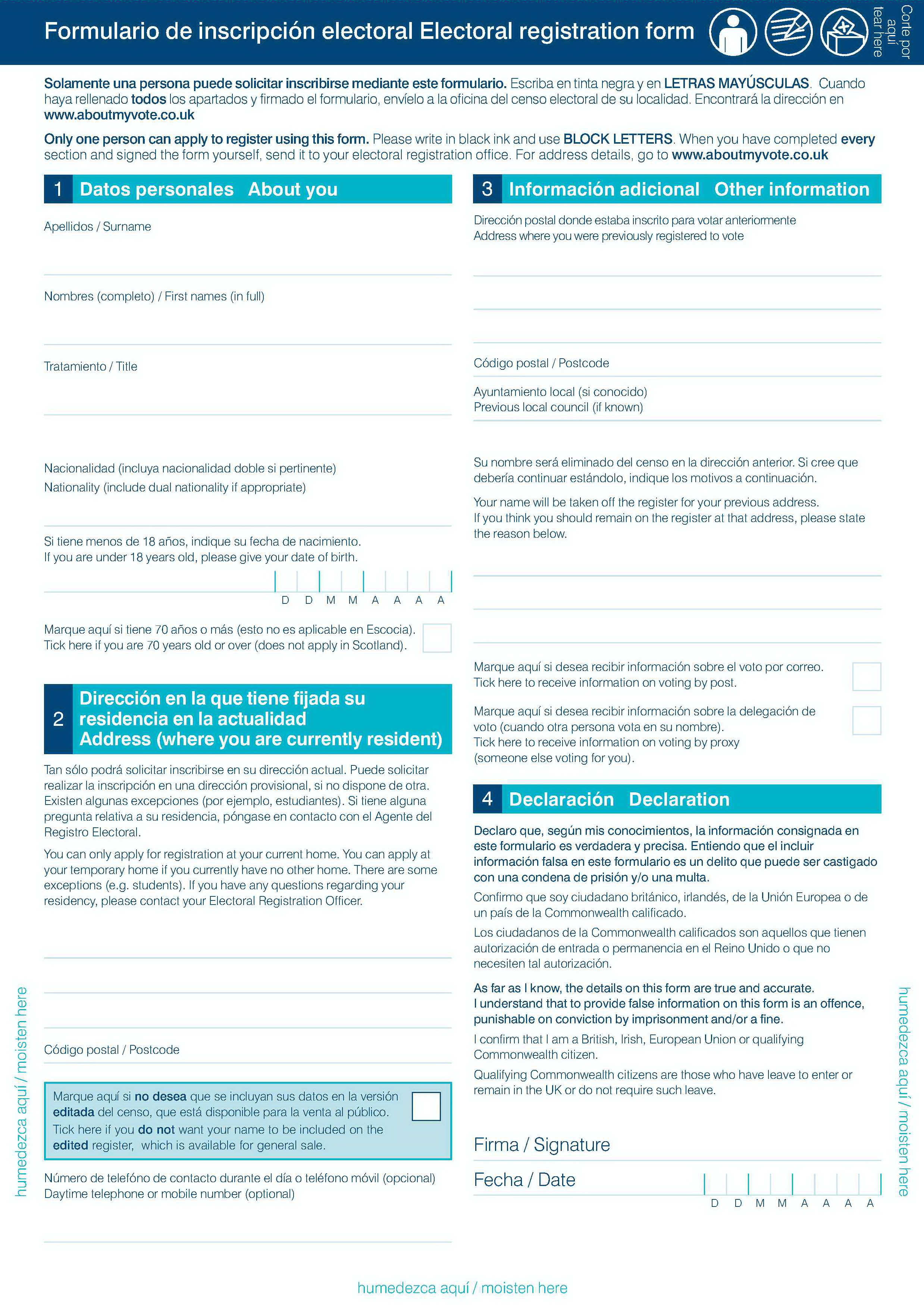 Formulario de inscripción electoral en español